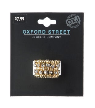 Oxford Street Jewelry Co. Gold Double Row Rhinestone Ring