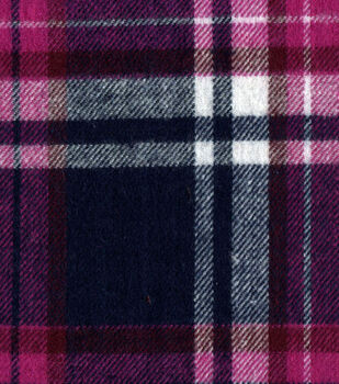Flannel Shirting Cotton Pink Navy White