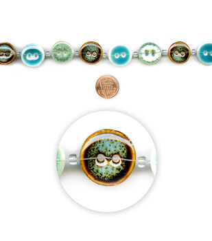 "Blue Moon Beads 7"" Strand, Ceramic Buttons, Turquoise/Green Multi"