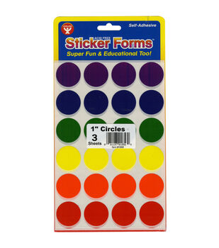 """Sticker Forms Self Adhesive Stickers-Assorted Colors 1"""" Circles 72/Pkg"""