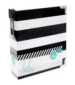 "Heidi Swapp Memory Planner Storage Binder 8""X8.75""X3""-Black & White Stripe"