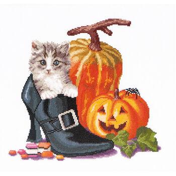 Thea Gouverneur counted-cross-stitch Kit Halloween Kitten On Aida