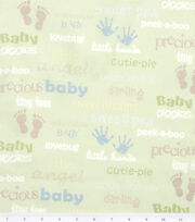 Nursery Flannel Fabric Oh Baby Words, , hi-res