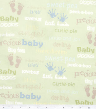 Nursery Flannel Fabric Oh Baby Words
