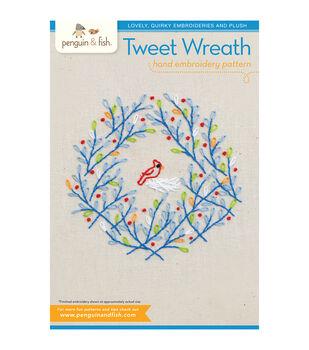 Penguin & Fish Embroidery Patterns-Tweet Wreath