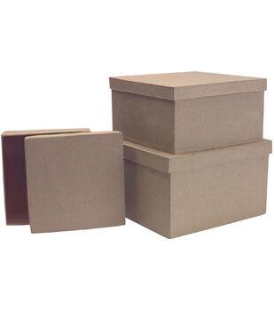 Paper Mache Box Set-3PK/Square