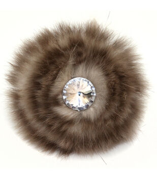 Laliberi Quick Clip Flowers 1/Pkg-Faux Fur Tan