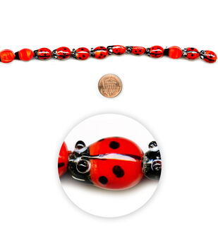 "Blue Moon Beads 7"" Strand, Lampworked Glass Ladybug"