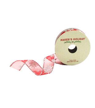 Maker's Holiday 7/8'' X 9' Ribbon-Snowflake Sparkle