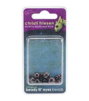 Great Create 24pcs Christi Friesen Beady Lil' Glass Eyes-Black