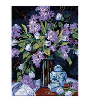 """Dimensions Tulips&Lilacs Needlepoint Kit-12""""X16"""" Stitched In Floss"""