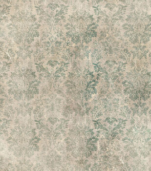 Tim Holtz Premium Cotton Fabric-Faded Damask Teal