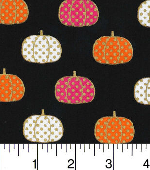 Halloween Cotton Fabric-Polka Dot Pumpkins