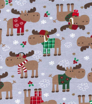 Christmas Fleece Fabric-Christmas Moose Flannel