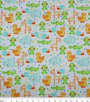 Nursery Flannel Fabric-Happy Jungle Animals White