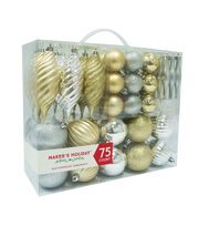 Maker's Holiday 75ct Shatterproof Ornaments-Gold & Silver, , hi-res