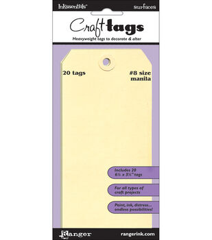 "Inkssentials Manila Surfaces 20Pk-Tag # 8 6.25""X3.125"