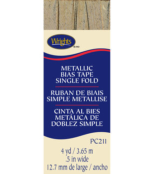 "Wrights Single Fold Lame' Bias Tape-1/2""W x 4yds Gold"