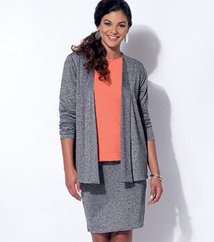 McCall Pattern M7331-A50 Misses' Cardigan, T-Shirt, Pencil Skirt and Leggings-6-8-10-12-14