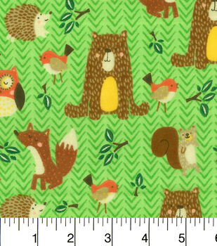 Snuggle Flannel Fabric-Woodland Friends Green