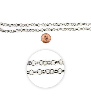 "Blue Moon Charm Chain-36"" Silver"