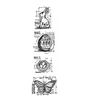 Stampers Anonymous Mini Easter Blueprints Strip Cling Stamps