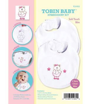 Tobin Baby Bear Soft Touch Bibs Embroidery Kit-Set Of 2