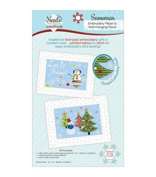 Christmas Pillow/Wall Art Panel For Embroidery-Snowman