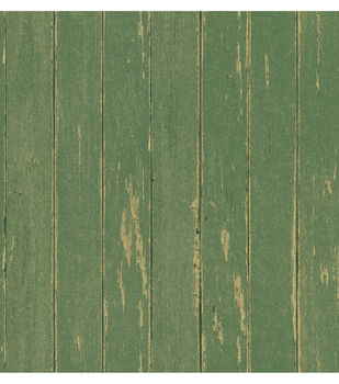 Yarmouth Green Rustic Wood Paneling Wallpaper Sample