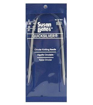 "Susan Bates Quicksilver Circular Knitting Needles 24""-Size 8"