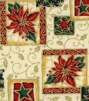Holiday Inspirations Fabric-Poinsettia Block