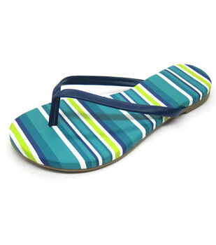Escape to Paradise Women's Flip Flops-Striped Blue
