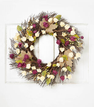 Blooming Autumn Flower, Berry & Twig Wreath-Beige, Green & Purple