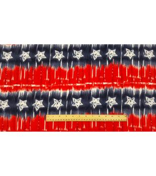 Anti-Pill Fleece Fabric-Red White Blue Star Tie Dye