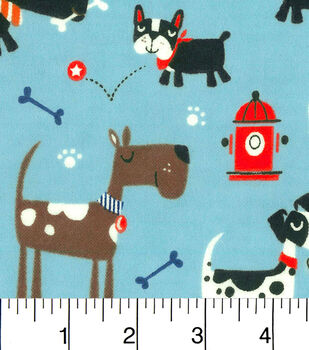 Snuggle Flannel Fabric-Dogs, Bones And Fire Hydrants