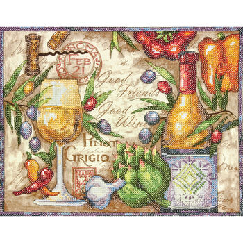 Dimensions Stamped Cross Stitch Kit Pinot Grigio