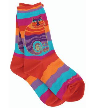 Laurel Burch Socks-Rainbow Cat-Multi Wavy Stripe