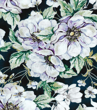 Two Daughters™ Cotton Fabric-Green Watercolor Large Floral