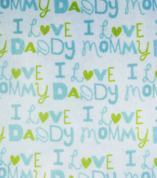 Snuggle Flannel Fabric-I Love Mommy blue