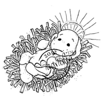 Magnolia Nativity Cling Rubber Stamp Little Holy Baby