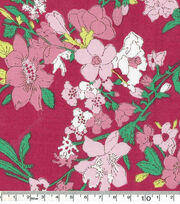 Keepsake Calico™ Cotton Fabric-Sketch Pink Floral And Leave, , hi-res