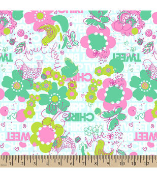 Snuggle Flannel Fabric-Birdie Tweet Chirp