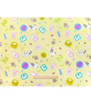 Nursery Flannel Fabric-Rhymes Tossed Animals Yel