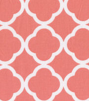 Keepsake Calico™ Cotton Fabric-Quatrefoil Coral&White, , hi-res