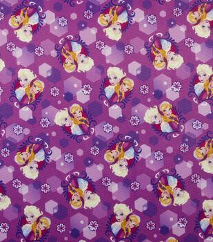 Disney Frozen Anna & Elsa Badge Sparkle Jersey Fabric