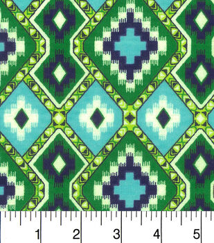 Snuggle Flannel Fabric-Green Navy Aztec