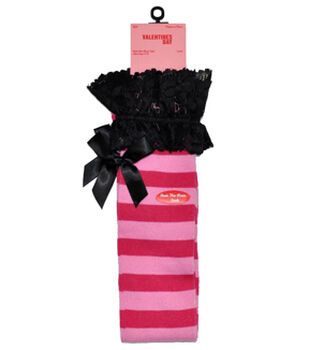 Valentines Day Over the Knee Socks-Rugby with Lace Cuff and Bow