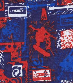 Snuggle Flannel Fabric-Skulls & Skate