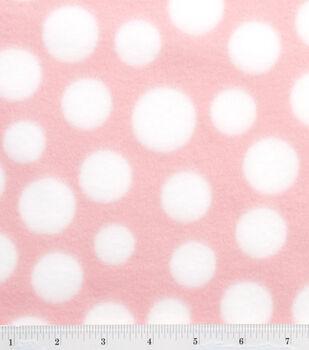 Blizzard Fleece Fabric-Light Pink/White Dot
