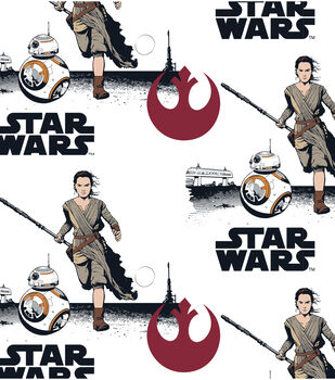Star Wars VII Rey And BB8 Flannel Fabric